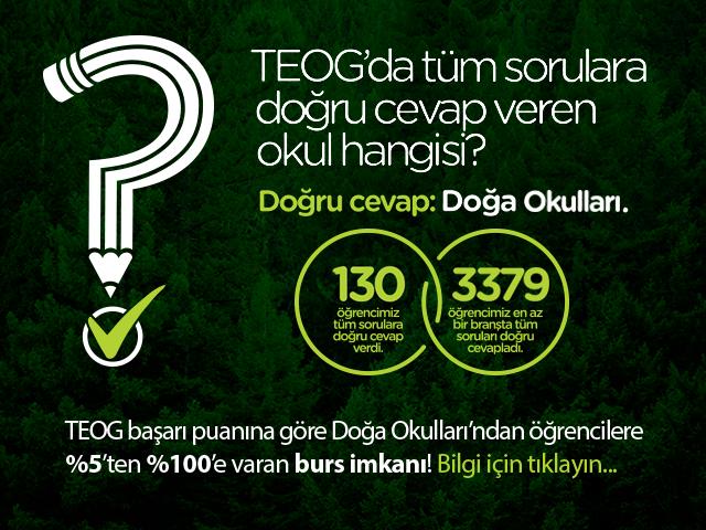 Doğa Koleji'nden, TEOG başarı puanına göre, %5'ten %100'e varan burs imkanı.